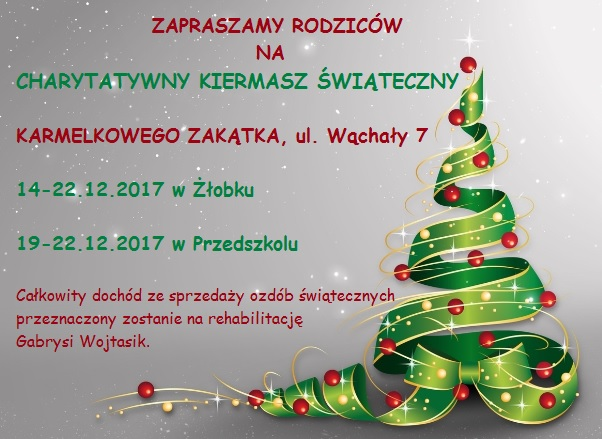 Charytatywny kiermasz świąteczny 14 – 22.12.2017