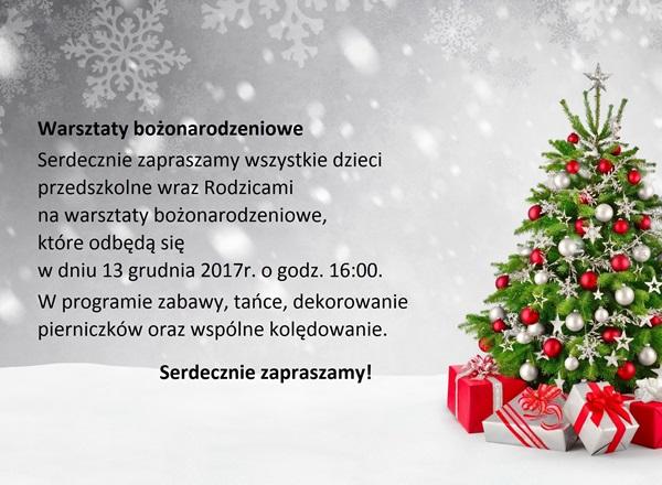 Zaproszenie na warsztaty bożonarodzeniowe